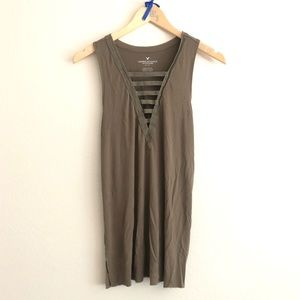 Olive Green Slit Front American Eagle Tank Top